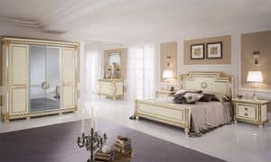 Liberty wardrobe with 4 doors, Wardrobe with classic style, mirror central doors, handmade gold leaf decorations