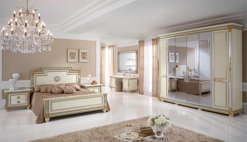 Liberty wardrobe with 6 doors, Wardrobe in classic style, with handmade decorations, made in Italy