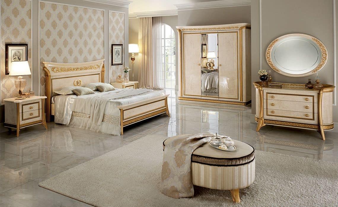 Melodia small wardrobe, Wardrobe 3 doors, classic style, gold leaf finishes