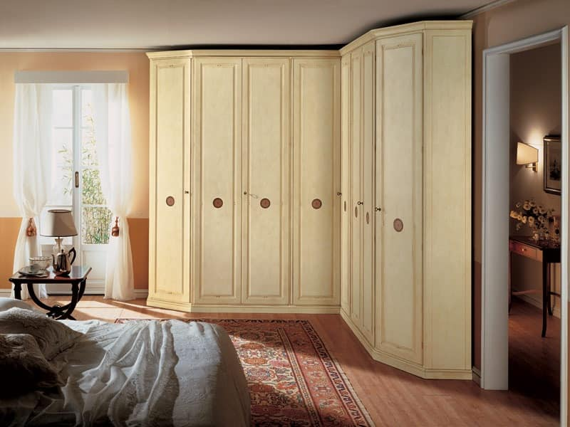 Olimpo Angular, Corner wardrobe in wood, 8 doors, suitable for classic-style bedrooms
