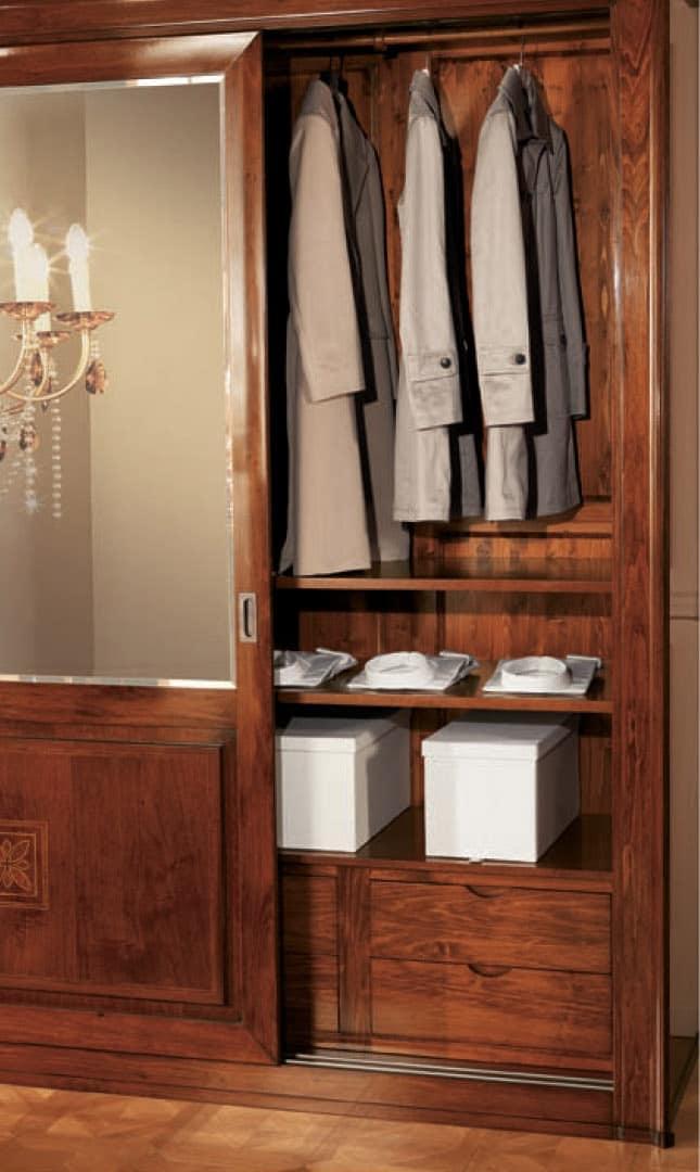 Olympia Wardrobe 2 doors, Wardrobe with mirrored doors, diamond backs