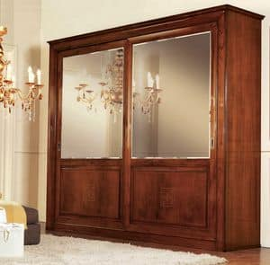 Olympia Wardrobe 2 doors, Wardrobe with mirrored doors, diamond backs