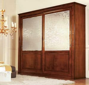 Olympia wardrobe 2 doors with silkscreen, Classic wardrobe with mirrors satin silk screened