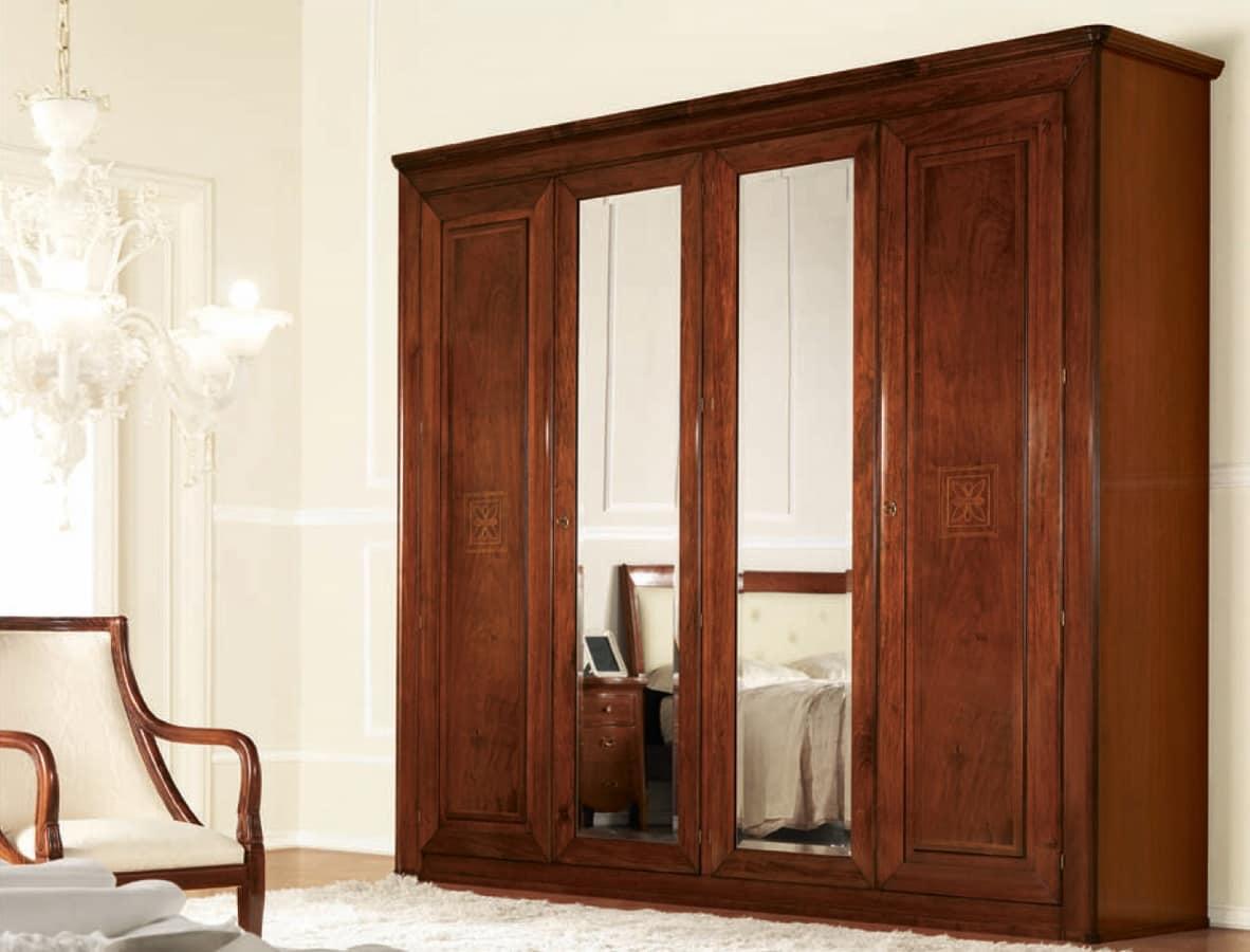 Olympia wardrobe 4 doors with mirror, Classic wardrobe with mirrors, with internal drawers