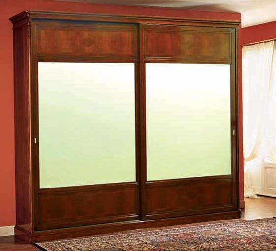 Opera wardrobe sliding doors, Classic wardrobe with sliding doors made of walnut