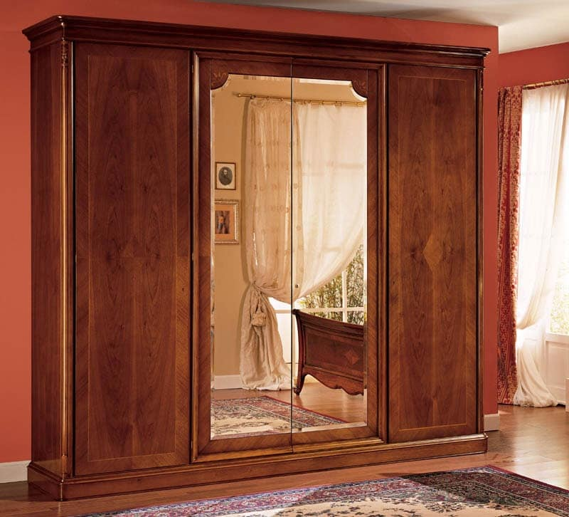 Opera wardrobe, Wooden cabinet decorated by hand, in classic style