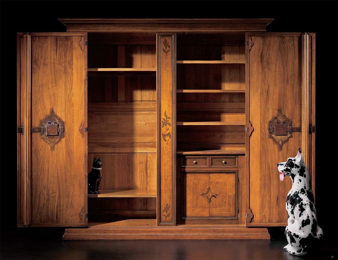 Piranesi RA.0830, Inlaid walnut and cherry wardrobe with 2 doors, inside drawers and shelves, for environments in classic style