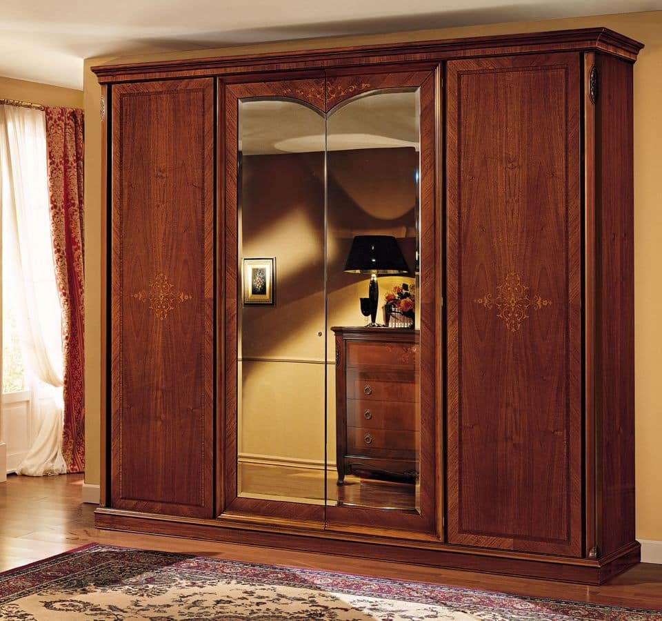 Praga wardrobe, Classic wardrobe, in walnut, with 4 doors, for bedroom
