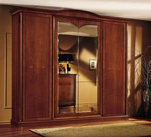 Praga wardrobe, Classic wardrobe, in walnut, with 4 doors, for bedroom