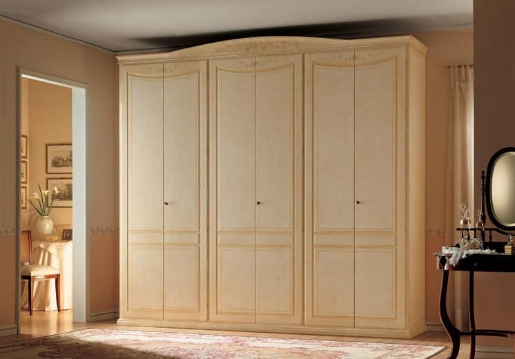 Primavera, Wardrobe with 6 doors, classic style and handmade decorations