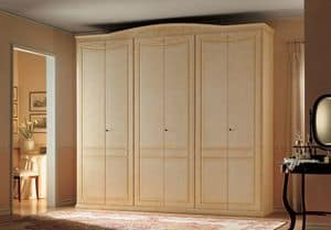 Primavera, Wardrobe with 6 doors, classic style and handmade decorations