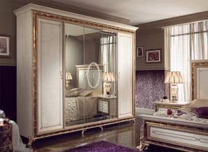 Raffaello wardrobe with 5 doors, Luxury classic wardrobe, lacquered pearl white with gold decorations