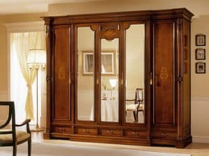 REGINA NOCE / 5 doors wardrobe (3 doors central mirror), Luxury wardrobe with 5 doors, 3 with mirror, for hotels