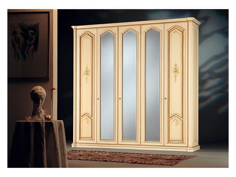 Rialto, Antique style wardrobe, 3 mirror doors, 2 wooden doors decorated by  hand - Antique Style Wardrobe, 3 Mirror Doors, 2 Wooden Doors Decorated By