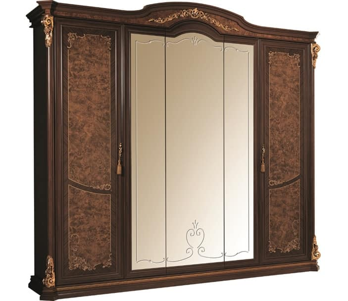 Sinfonia large wardrobe, Wardrobe with 5 doors, with mirror and frieze in gold leaf