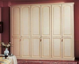 Sirio wardrobe, Wardrobe in paneled wood, 6 doors, for luxury hotels