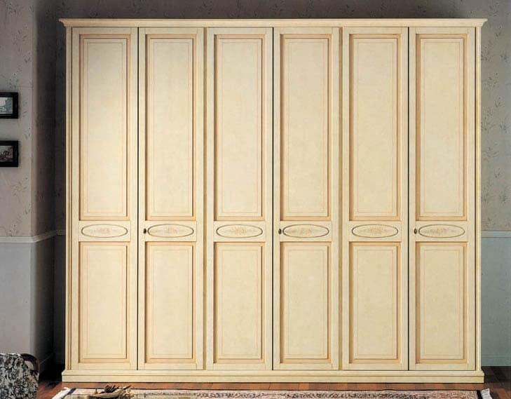 Vega wardrobe, luxury classic lacquered wardrobe with 6 doors