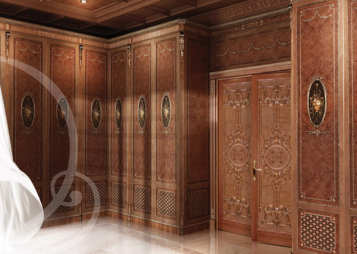 W100, Carved classic wardrobe, for Bedroom