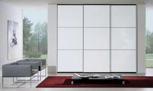 Wardrobe 90, Wardrobe with sliding doors, white lacquered glass, modern and essential design