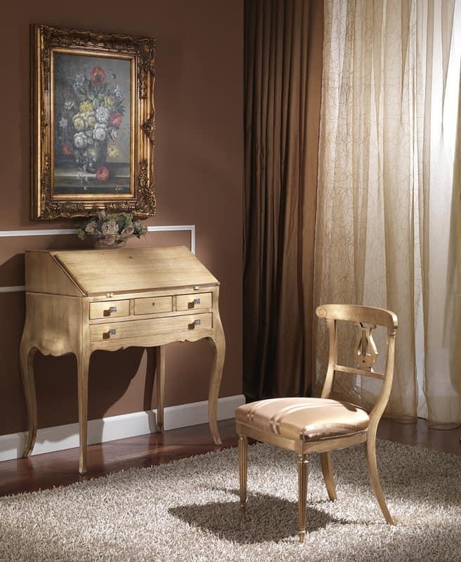 712 WRITING DESK, Luxury classic writing desk with flap, finishing gold leaf