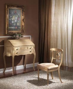 712 WRITING DESK, Luxury classic writing desk with flap, finishing gold leaf