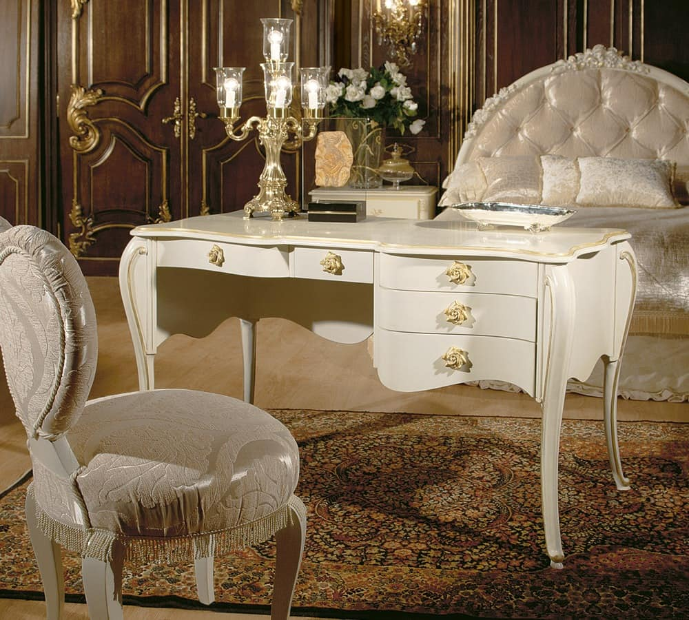 Art. 1073, Luxury writing desk with gold finishings, decò style