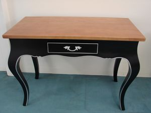 Art. 129, Desk with drawer, black lacquered and walnut wood finish
