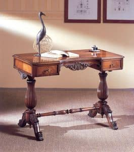 Art. 214, Luxurious writing desk, carved wood, with 2 drawers