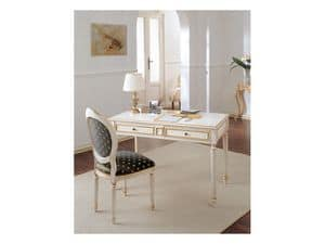 Art. 513, Desk in antiqued wood, gold leaf decorations, for office