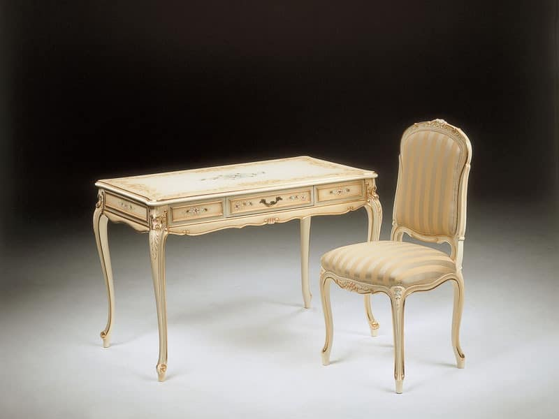 Art. 520, Desk in wood with 1 drawer, hand-decorated