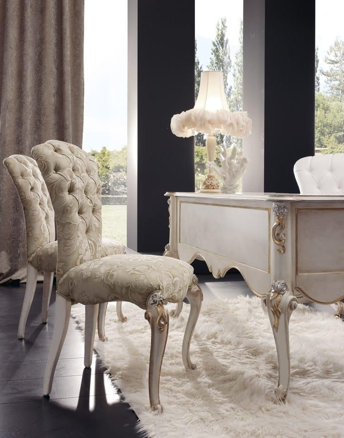 Botero desk, Classic style desk in pearl white wood
