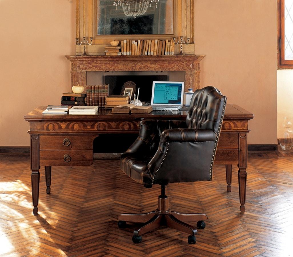 Ca' Venier Art. CV26, Classic writing desk in solid wood
