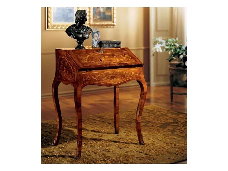 Complements writing desk 830, Writing desk made of wood with folding top, classic style