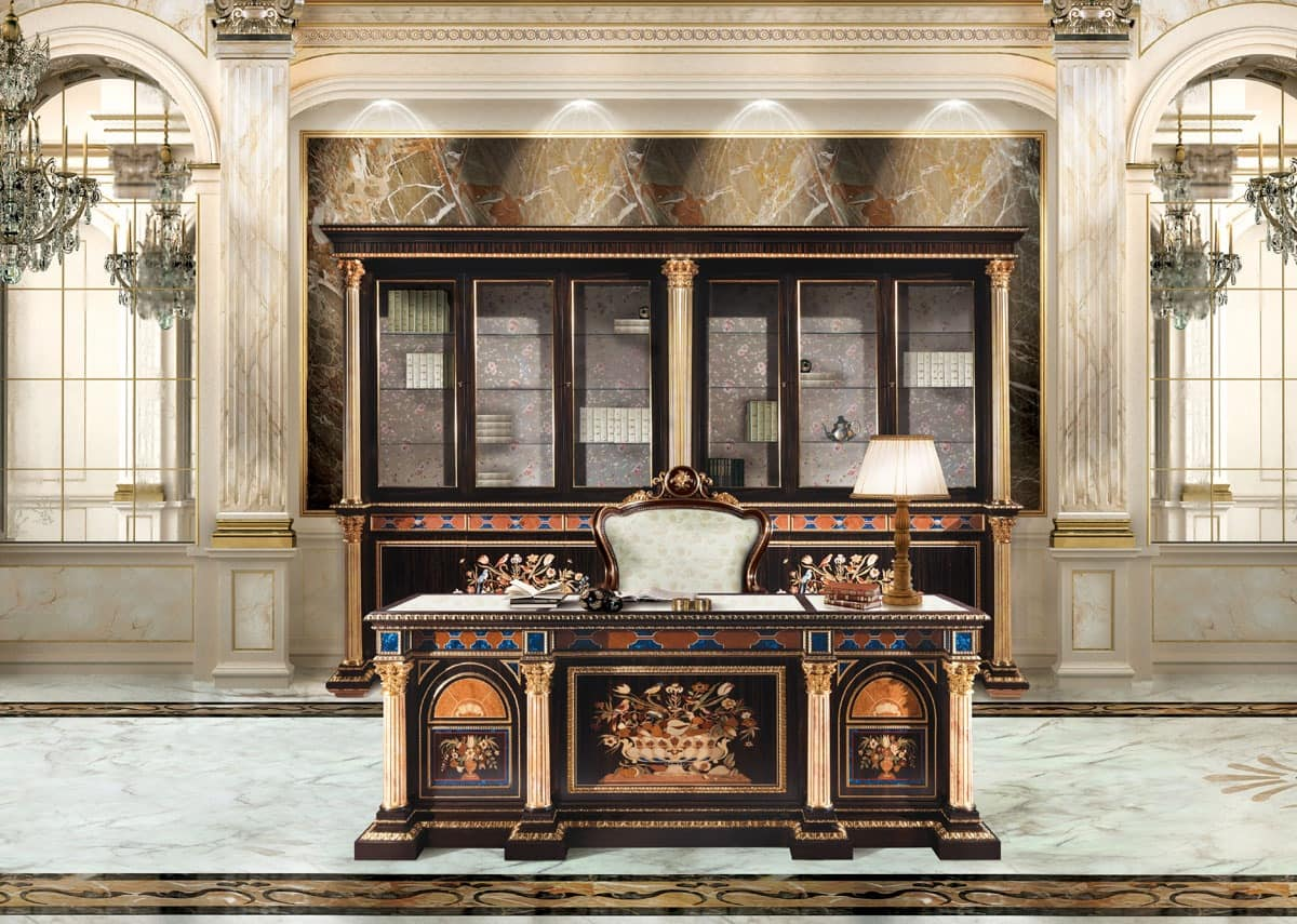 F950/D, Inlaid desk for classic luxury Office