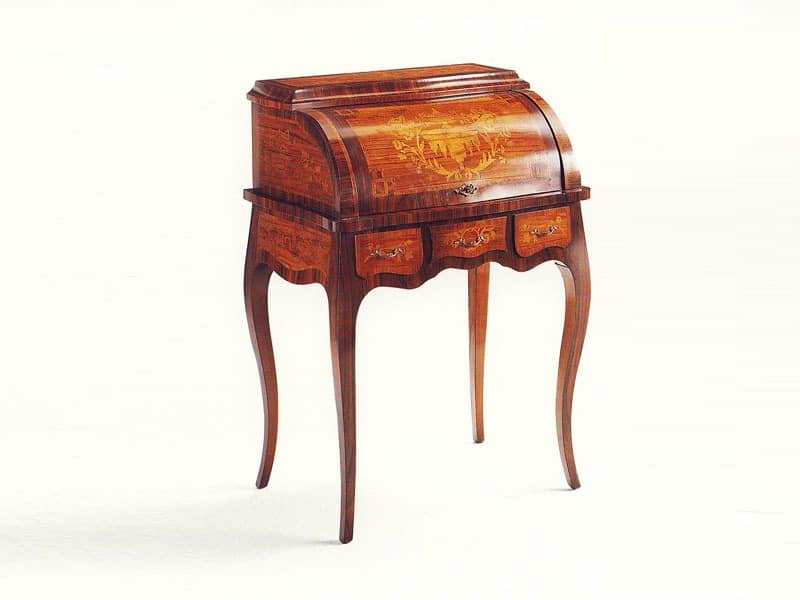 Kant, Classic writing desk in rosewood and maple, inlaid top