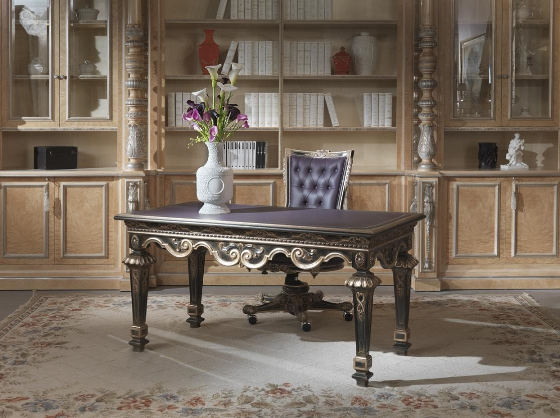 Lariana desk, Desk with leather top