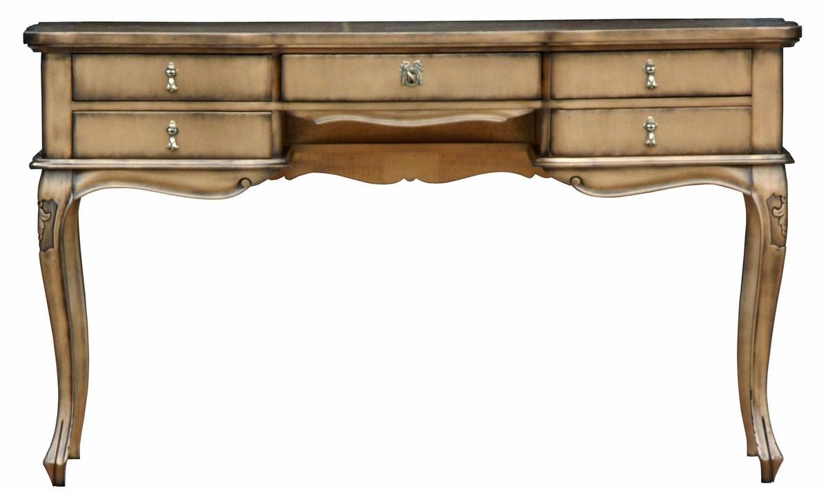 Melissa FA.0031, Baroque wooden desk with 5 drawers, small floral decorations on the legs, suitable for offices in classic luxury style