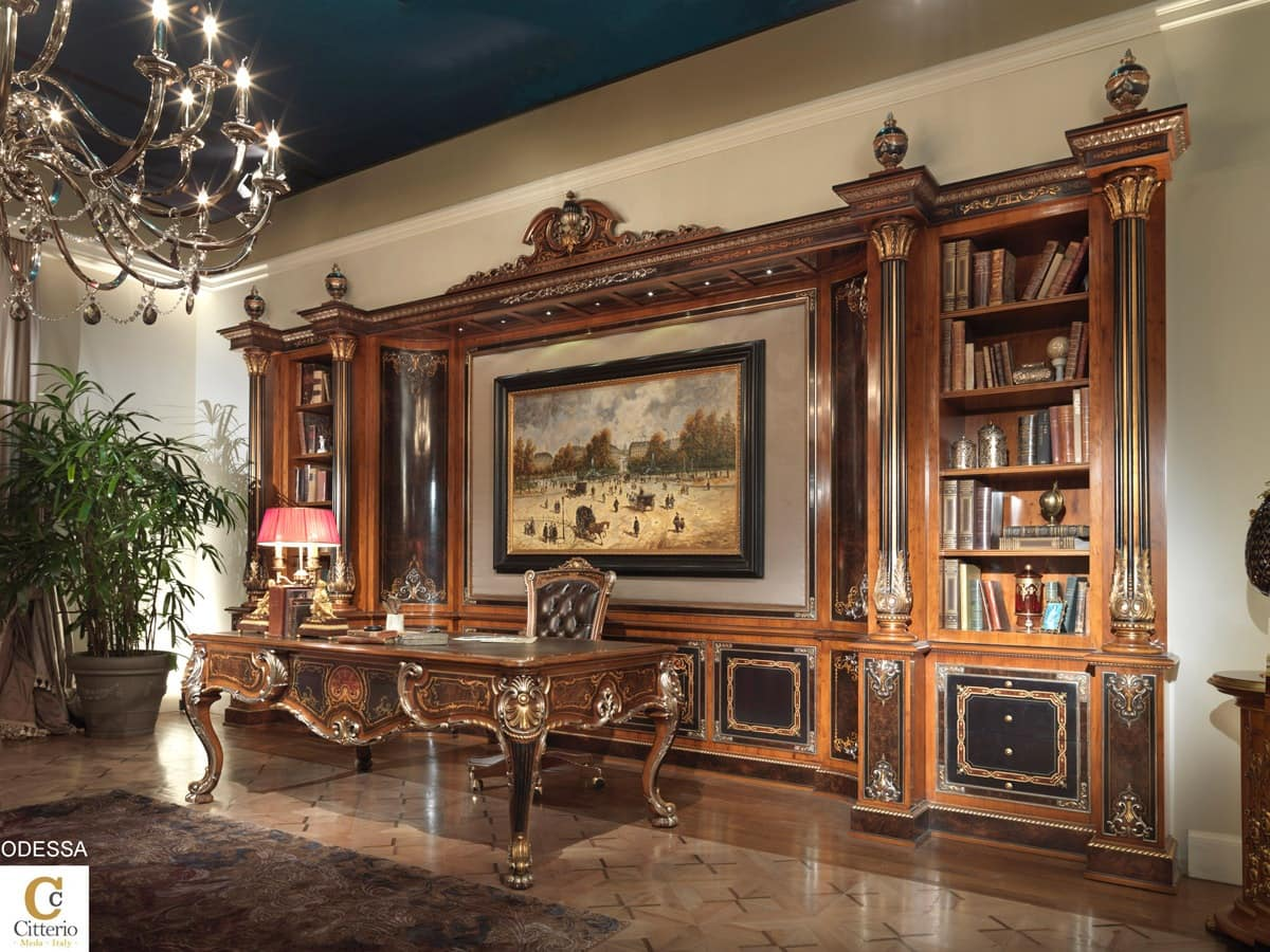 Inlaid office funriture inlaid bookcase for office - Mobili luxury design ...