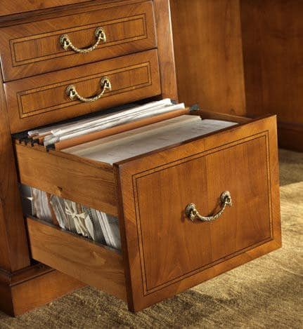 R 401, Executive desk in cherry wood, leather top, secret compartment