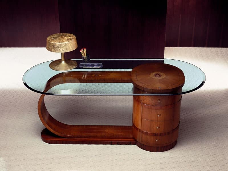 SC15 Zebrano desk, Desk with glass top, solid wood, 4 drawers