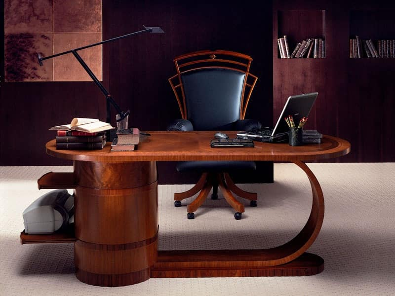 SC16 Zebrano desk, Wooden desk with drawers, classic style