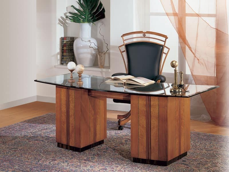 SO24 desk, Desk with glass top, medallions inlaid in cherry