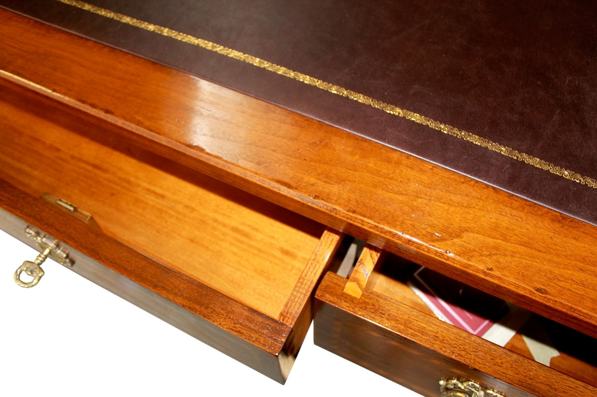 Strasbourg VS.5509, Desk in walnut, with 3 drawers and leather top, for office in classic style