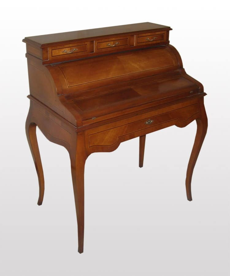 Thomas, Writing desk made of walnut with top in leather, classic style