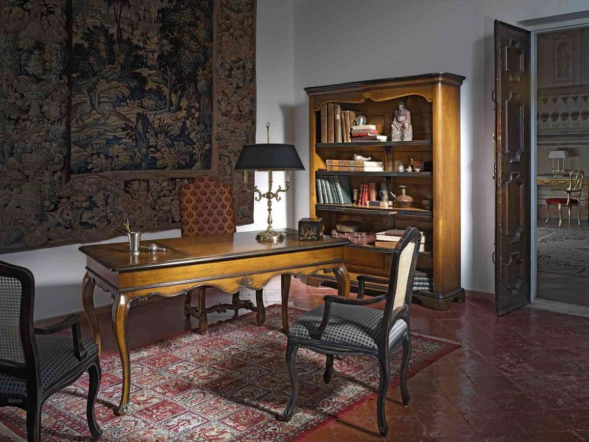 Tiepolo RA.0688, Walnut writing desk with 3 drawers, ebonized finish
