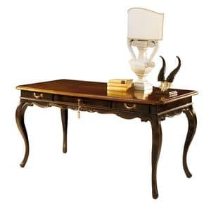 Tiepolo RA.0688, Walnut writing desk with 3 drawers, ebonized finish