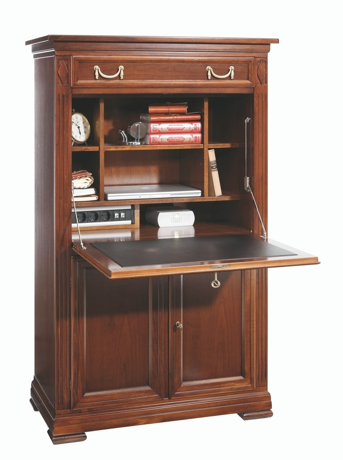 Villa Borghese Secretaire 6375, Cabinet with flap top in leather