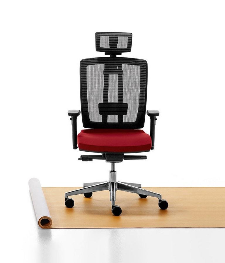 Air One Soft 01 PT, Executive chair, base in die-cast aluminum
