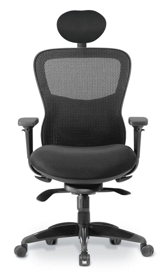 Athos 01 PT, Directional chair with mesh backrest, for office