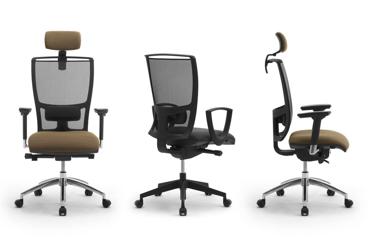 Cometa, Office chair with headrest, mesh backrest